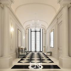 Entrance lobby interior design Doha villa