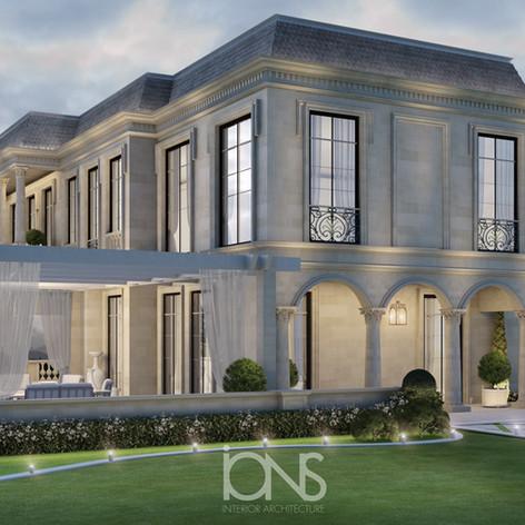 Exterior villa Architecture design in Doha Qatar