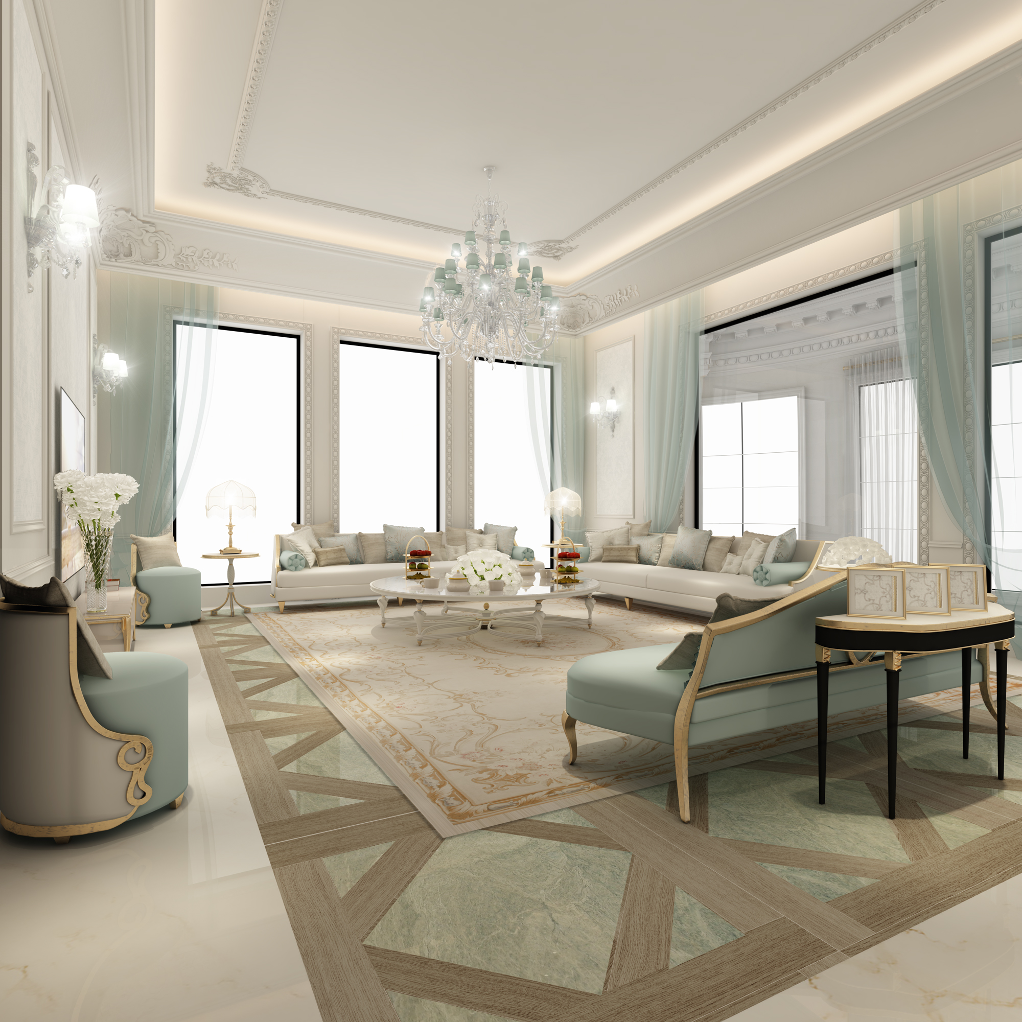 Parisian Living Room Ie-design-dubai