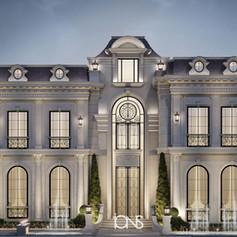 Villa front architecture design in Abu Dhabi