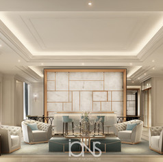 Open kitchen/pantry interior design with marble flooring in our project for a villa in Dubai, United Arab Emirates