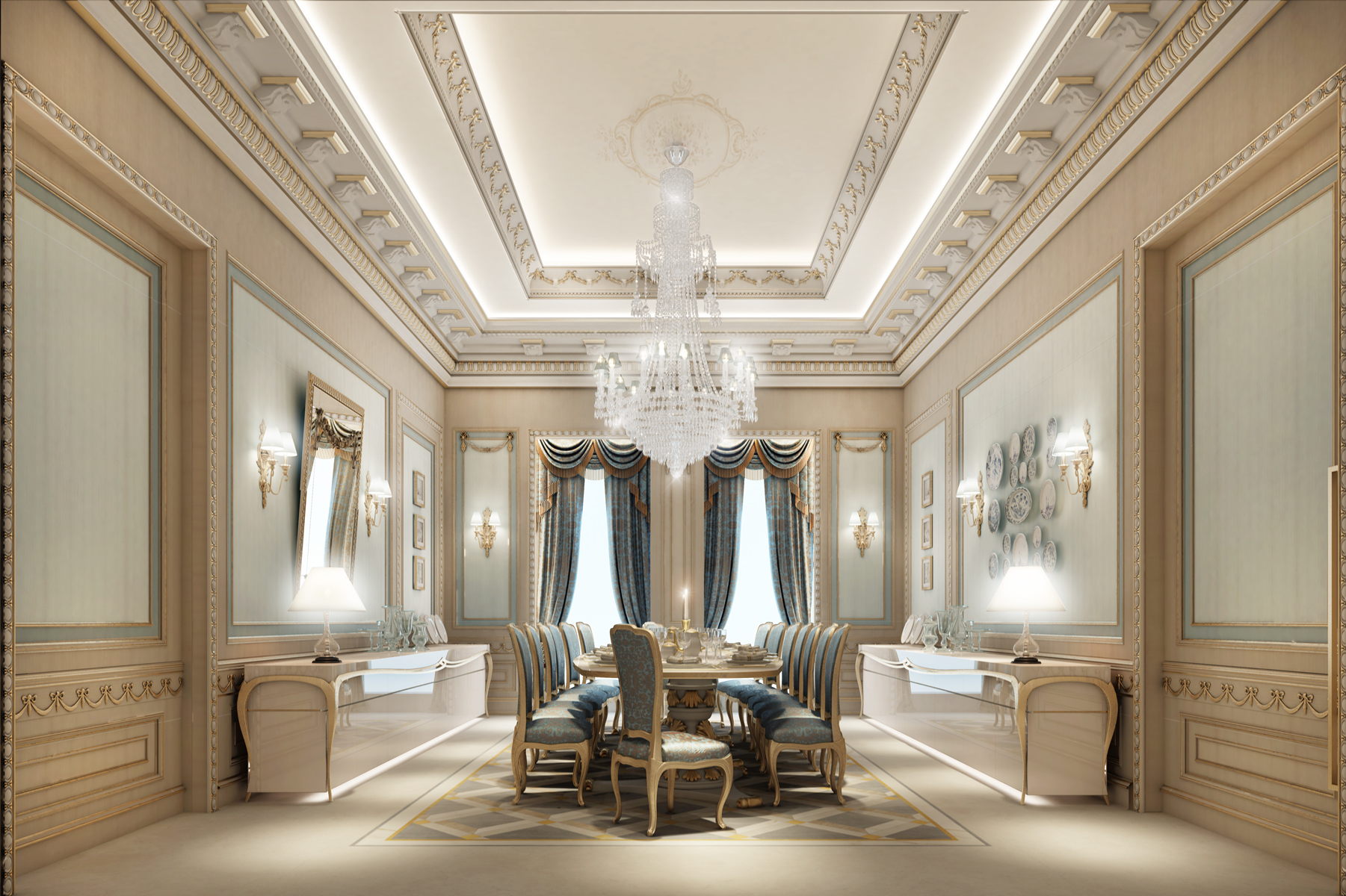 Luxe Dining Room of a Villa Design