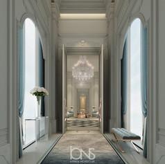 Neoclassical Royal palace Entrance foyer in Doha , Qatar