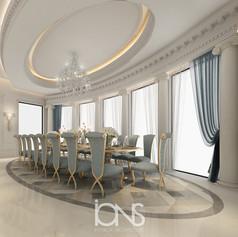 Luxury Dining room interior design in Doha Villa, Qatar