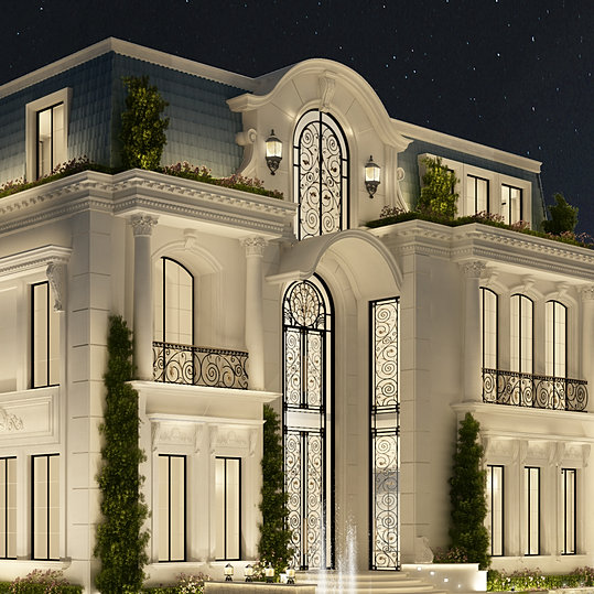 Ions luxury interior design dubai interior design for Classic villa exterior design