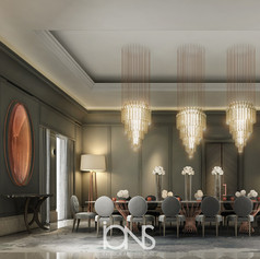 Dining room with modern furniture