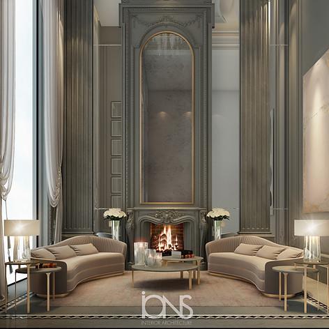 Double height sitting area design , Riyadh House