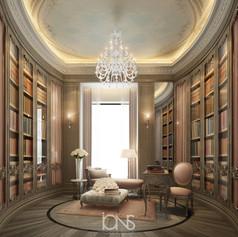 home library interior design- dubai Villa