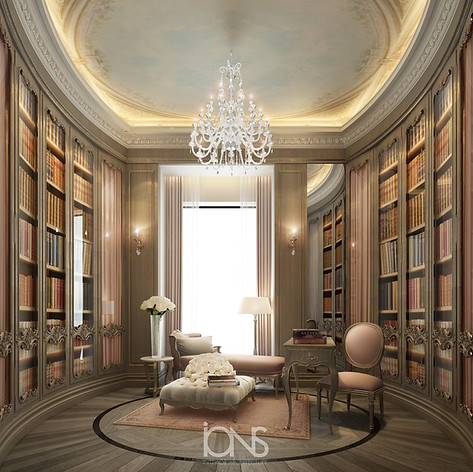 home library interior design- dubai Villa