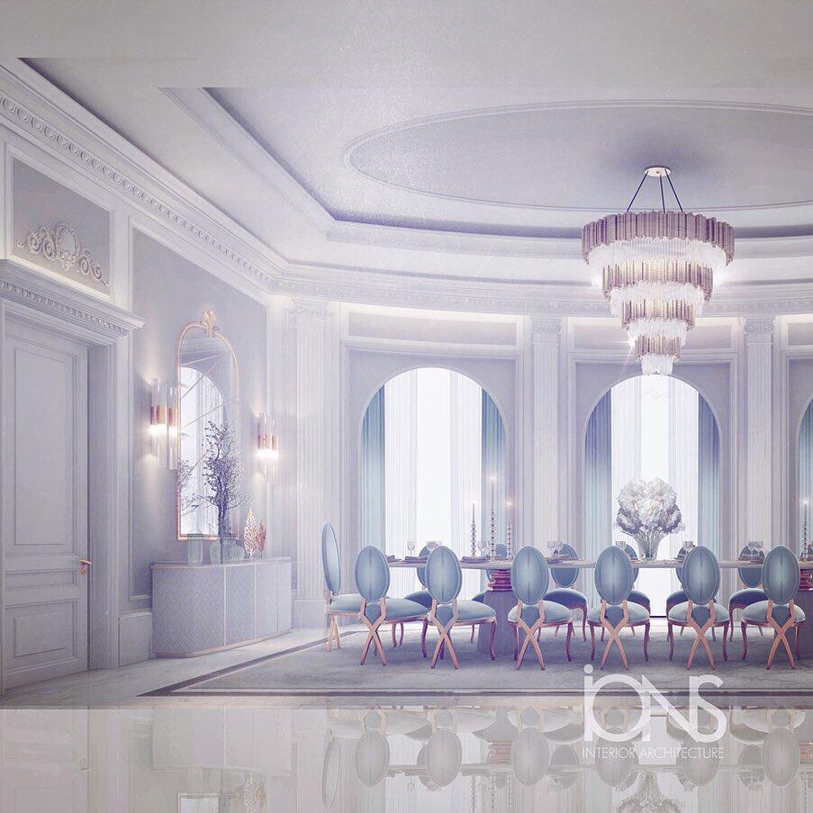 Gray Theme Dining Room Interior