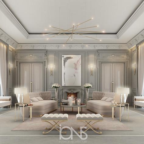 Fireplace lounge design , Saudi arabia house