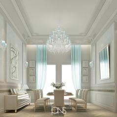 Family dining room interior design , Dubai villa