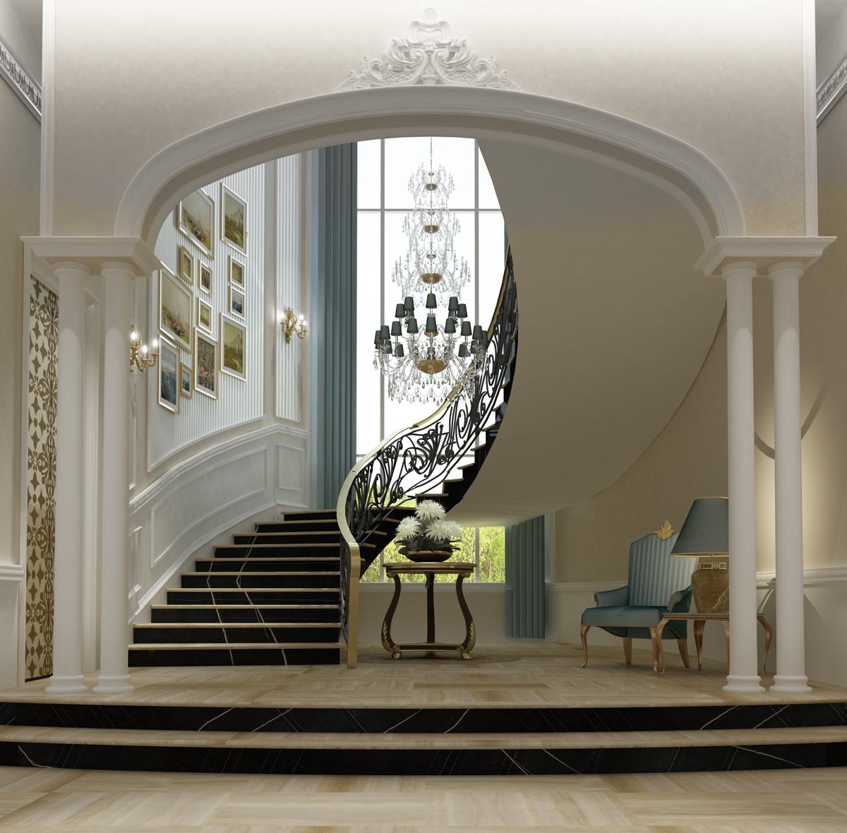 Chic Foyer for Villa Design Ideas