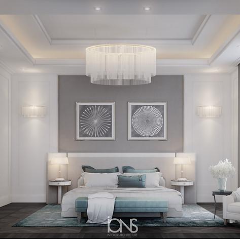 Modern bedroom interior design.Dubai villa