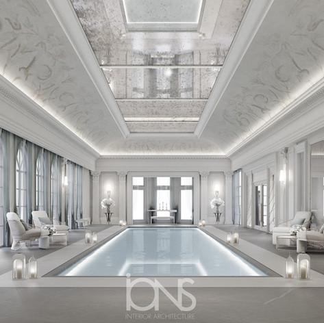 Classic indoor swimming pool Design , Qatar villa