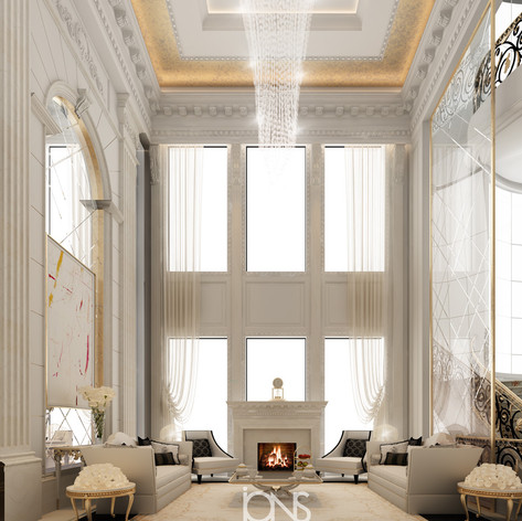 Majlis interior Design with Fireplace in Doha,Qatar