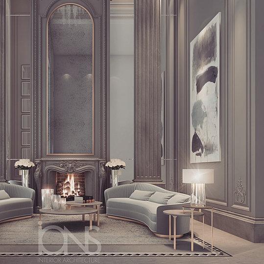 fireplace lounge design  abu Dhabi villa    3. IONS   Luxury Interior Design Dubai   Interior Design Company in UAE