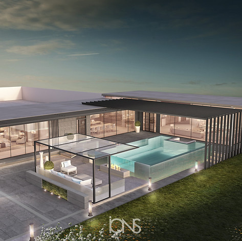 Swimming pool design with the landscape