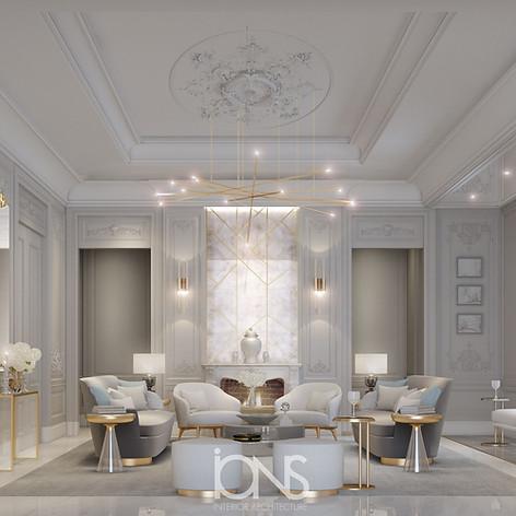 Family living interior design Abu Dhabi villa