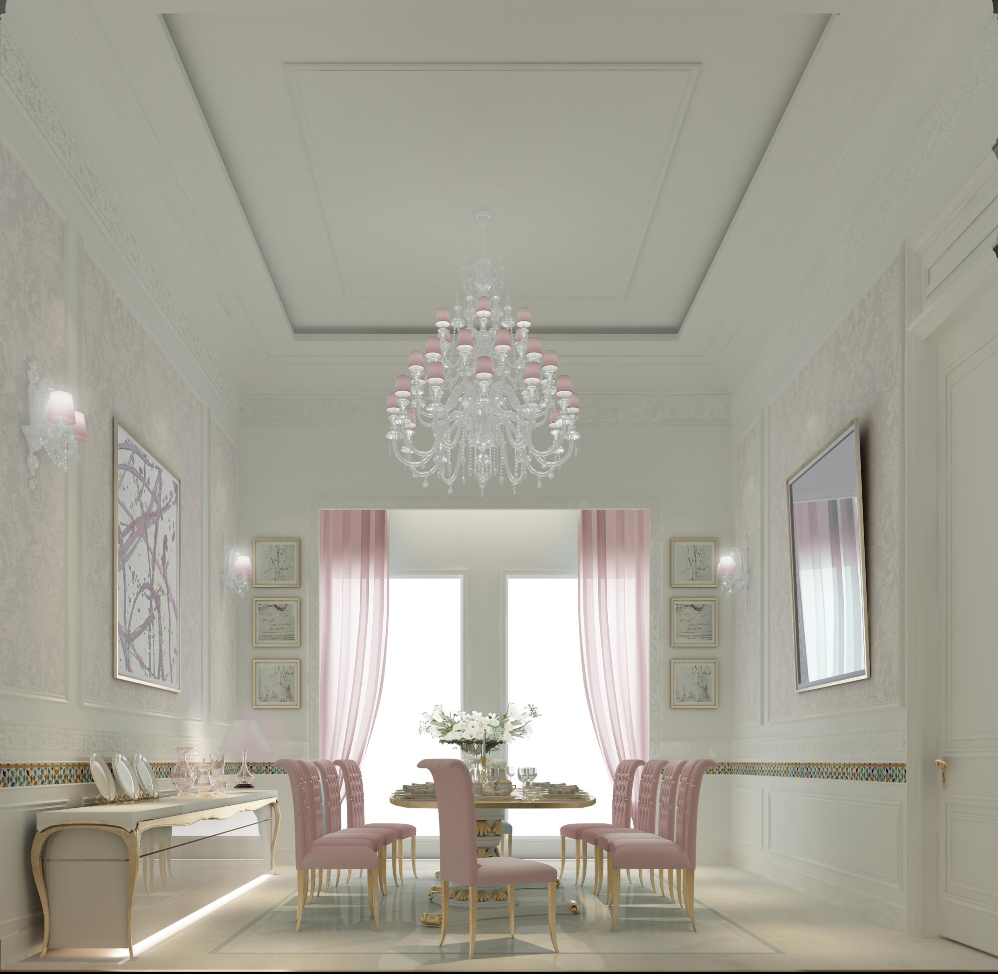 Pink Dining Room Interior