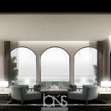 Modern Family Living Room interior design, Palm Dubai villa