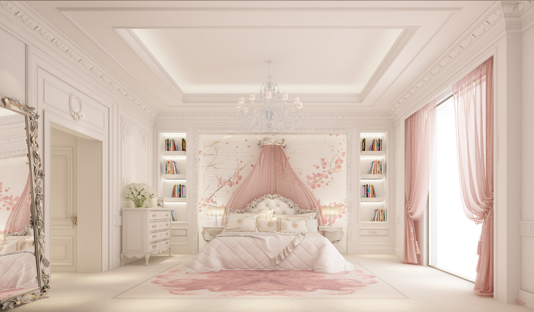 Lovely Pink Bedroom Interior