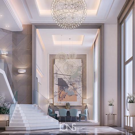Entrance lobby interior design.Dubai Villa