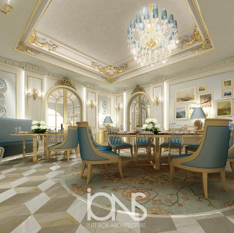 classic dining room interior design. Doha villa,Qatar