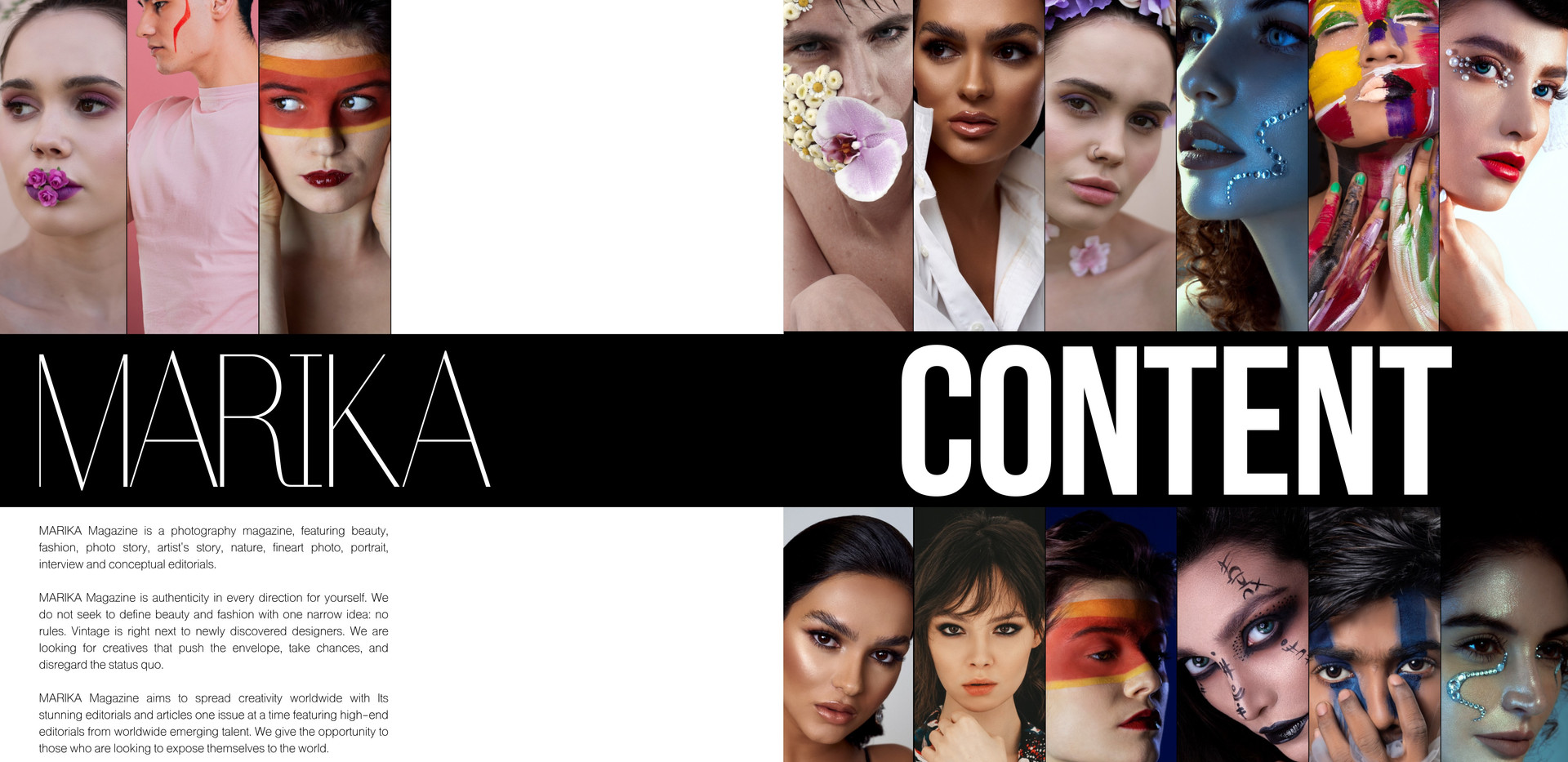 Publication YOU ARE ART in MARIKA Magazine Beauty | November Issue   Photo by Iris Kelly Kuntkes MUA Elke Herssens