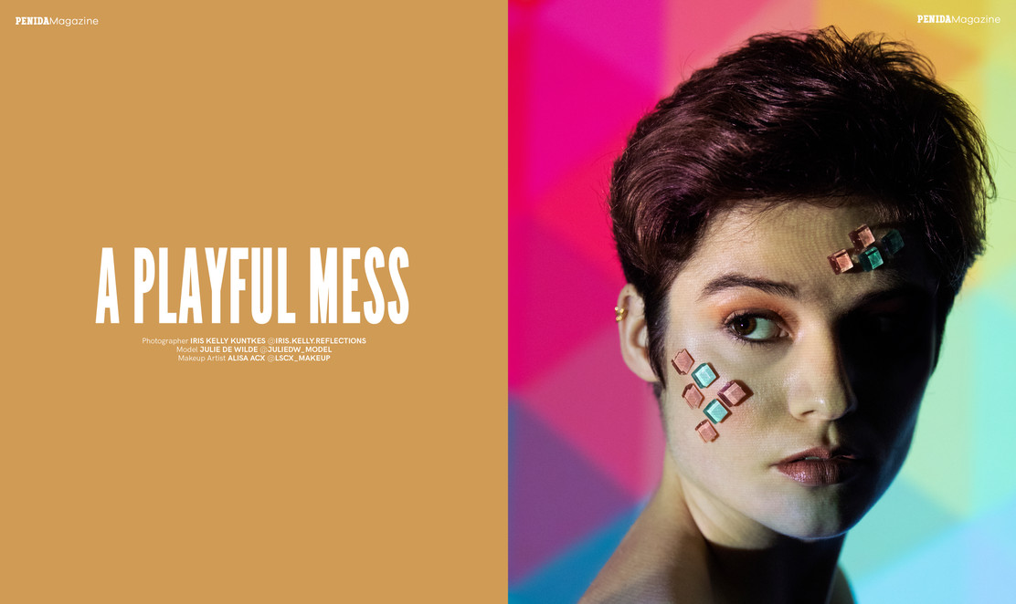 Publication A PLAYFUL MESS in PENIDA Magazine | October Issue Page 100 - 101  Photo by Iris Kelly Kuntkes MUA Alisa Acx | lscx_makeup