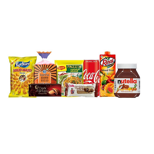 Evening Masti- 2(Nutella+Buiscuits+Chips+Bread+Pasta+SwissRoll+Cold Drink+Juice)