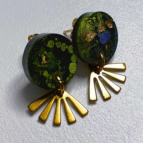 Boucles d'oreilles vertes et dorées (nakimi.ch)