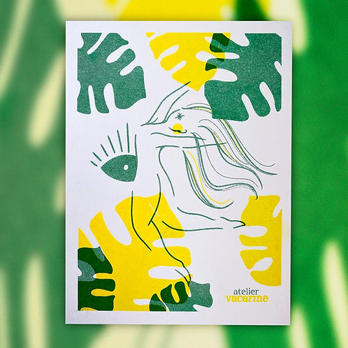 Print Riso A5 – Monstera jaune