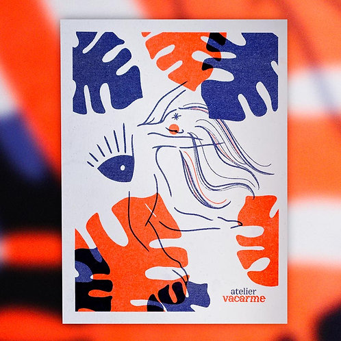 Print Riso A5 – Monstera rouge