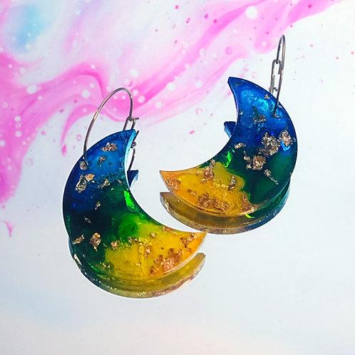 Boucles Nakimi Astrales (jaune, verte et bleu)