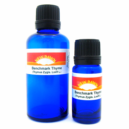 Benchmark Thyme Essential Oil in 10ml and 50ml blue glass bottles