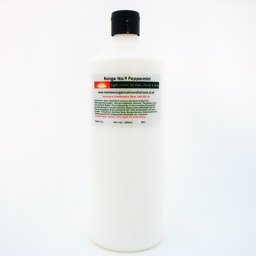 Organic Light Cream Lotion for Face, Hands and Body - New Dawn Organic Skin and Hair Care - 1 litre