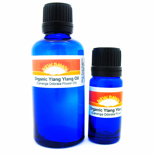 Organic Ylang Ylang Essential Oil in 10ml and 50ml blue glass bottles