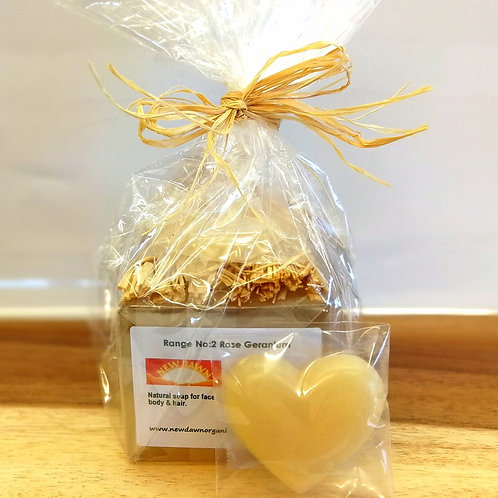 Gift Hamper - Handwrapped Organic Soap Loaf with Heart or Dragon Soap