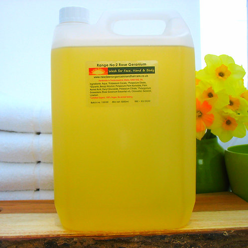 Organic Wash for Face, Hands and Body - New Dawn Organic Skin and Hair Care - 5 litre