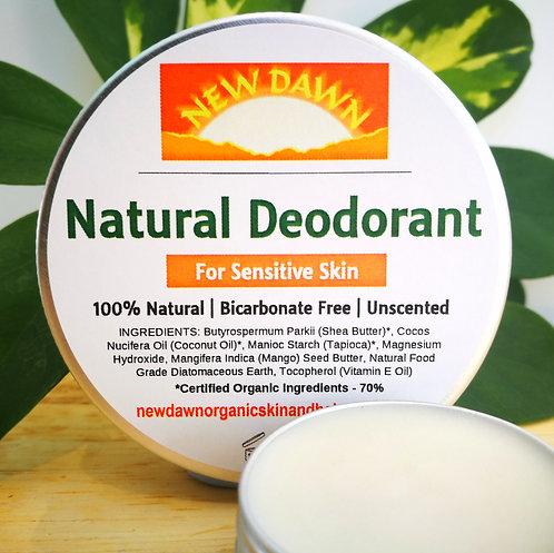 Natural Cream Deodorant For Sensitive Skin - Unscented and Bicarbonate free