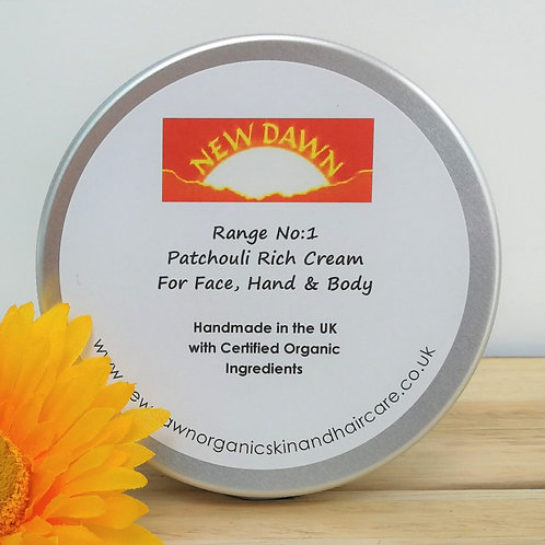 Organic Rich Cream for Face, Hands and Body - New Dawn Organic Skin and Hair Care - 30ml tin