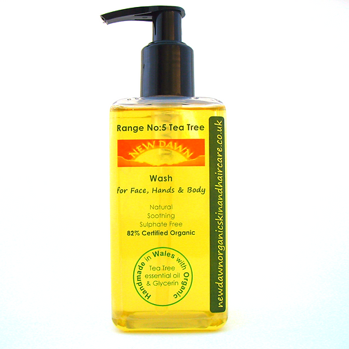 Organic Wash for Face, Hands and Body - New Dawn Organic Skin and Hair Care - 250ml refillable pump bottle