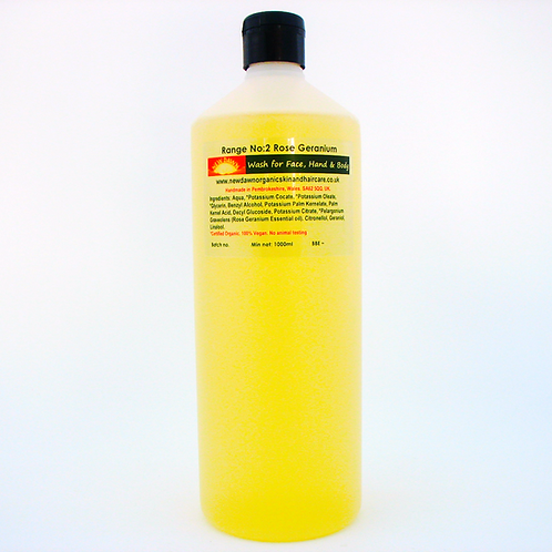 Organic Wash for Face, Hands and Body - New Dawn Organic Skin and Hair Care - 1 litre