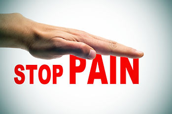 a man hand above the sentence stop pain