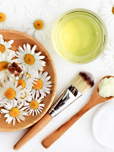 Chamomile flowers and extracted cosmetic