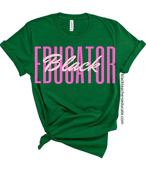 Black Educator in pink & green