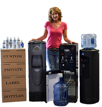 Johnna Schoen, co-owner of Pure Water Delivery, showing custom private labeled bottle water and water coolers.