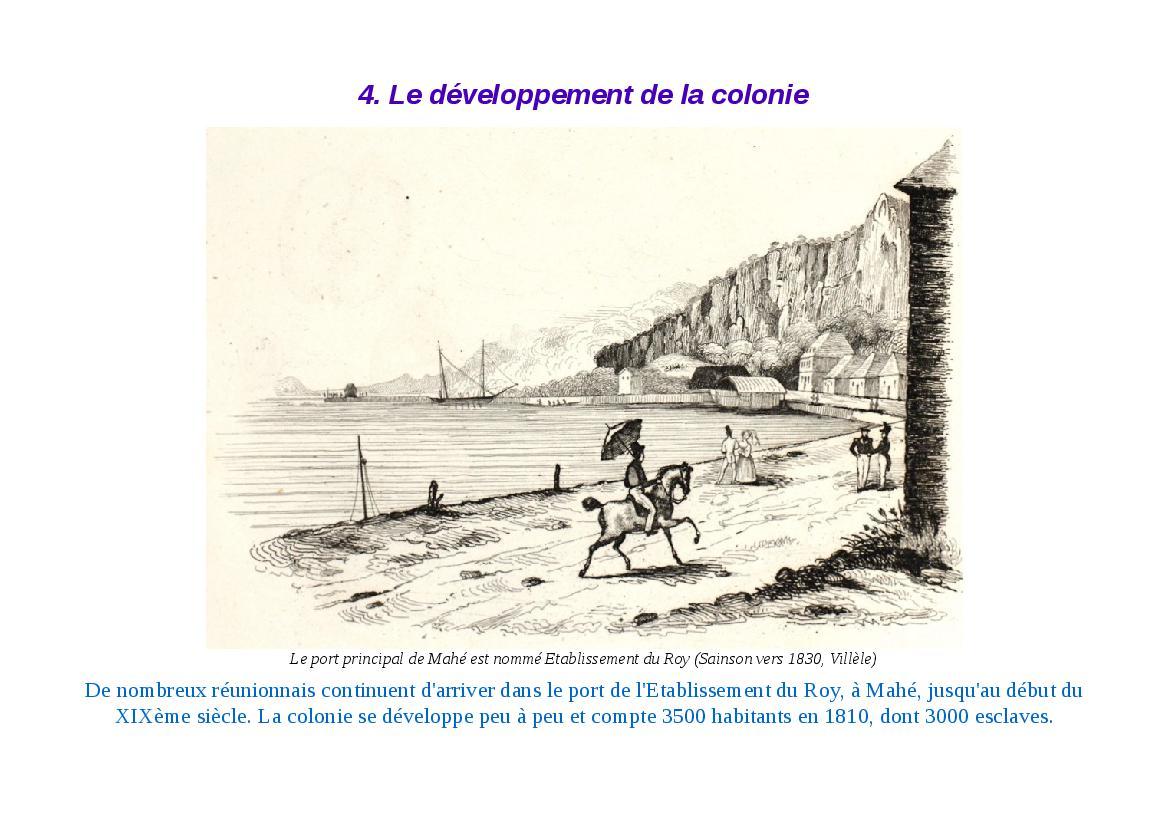 Le développement de la colonie