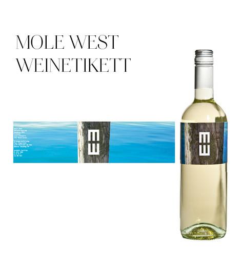 Gestaltung Weinetikett für Mole West im Burgenland